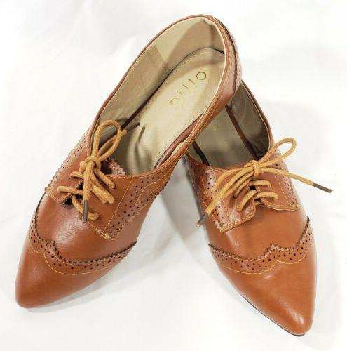 Ollio Shoes Wingtip Lace Up Oxfords 6
