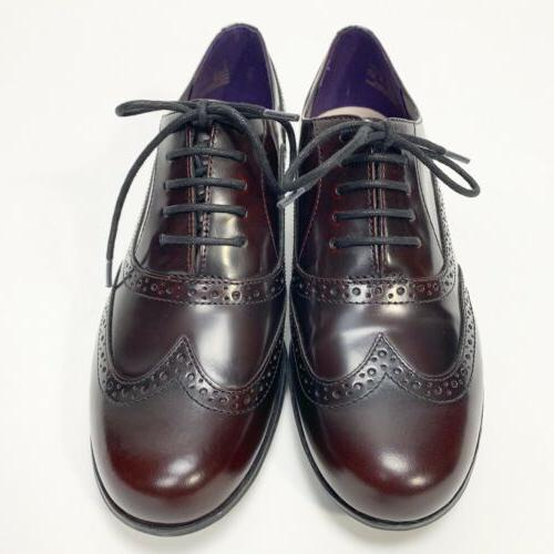 Clarks Women's Leather Burgundy Oxfords Wing Tip Lace Up Sho