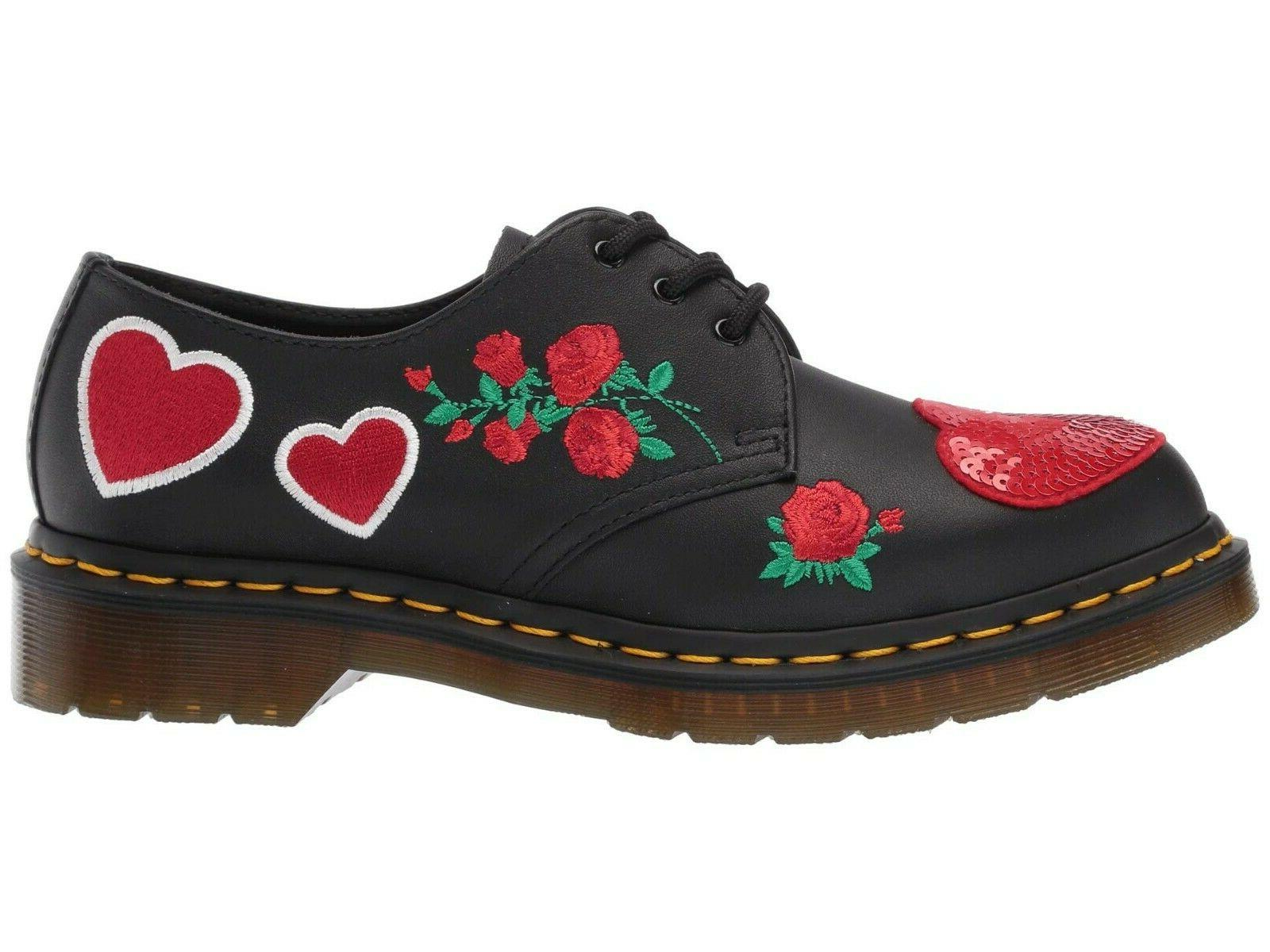 Women's Dr. 1461 SEQUIN HEARTS Leather Oxfords 24414001 BLACK