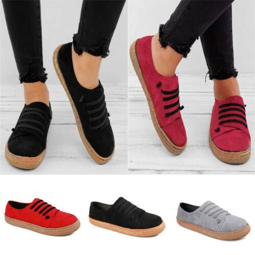 Women's Sneakers Moccasins Round Flats Lace-Up