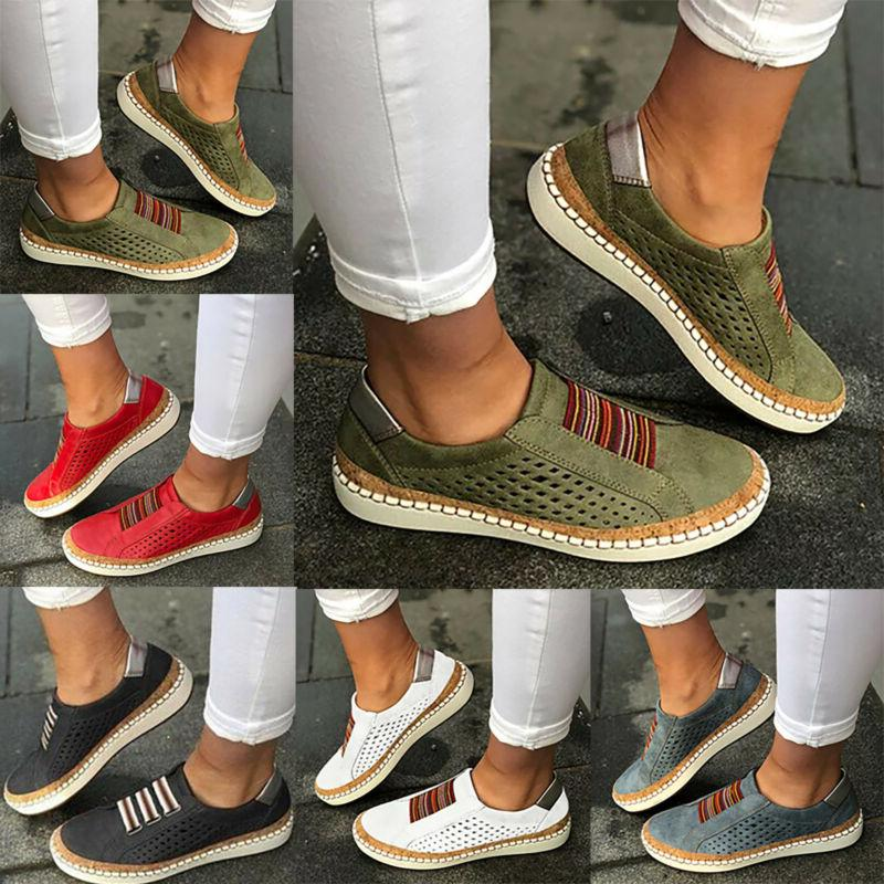 Womens Slip Sneakers Oxford Casual Pumps 9
