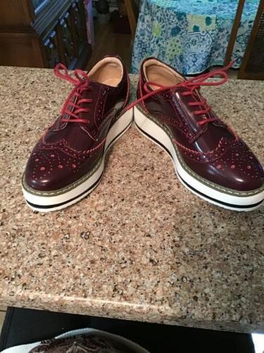 DADAWEN Womens Platform Lace-Up Cranberry Patent size
