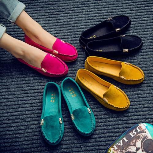 Womens Suede Shoes Loafers Ballerina Slip On Moccasin