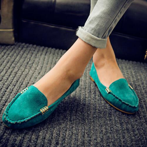 Womens Suede Loafers Ladies Slip