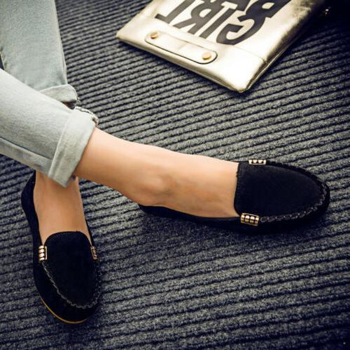 Womens Suede Shoes Loafers Ballet Slip Casual