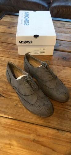 Sonoma Womens Suede Grey Oxford Shoes Size 7.5