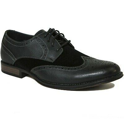 Alpine Swiss Mens Wing Dress Shoes Two Brogue Up Oxfords