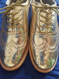 ladies babe gold wingtips oxford shoes by