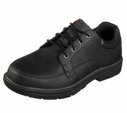 Leather Skechers Black Shoe Mens Memory Foam Casual 65567 Co