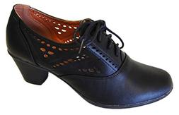 Refresh Women's London-01 Cutout Dressy Heeled Lace-up Oxfor