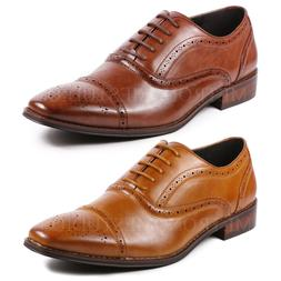 Metrocharm MC126 Men's Cap Toe Perforated Lace Up Oxford Dre