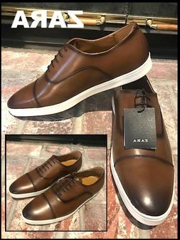 ZARA MEN BROWN OXFORD SPORTY CAP-TOE DISTRESED LACE-UP SHOES