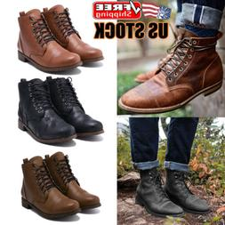 Men Lace Up Ankle Boots Leather Casual Business Oxford Chels