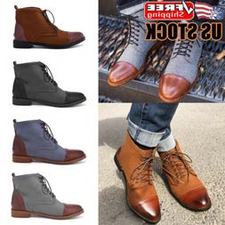 Men Leather Martin Boots Dress Shoes Casual Business Lace Up