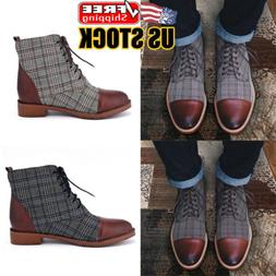 Men Leather Martin Boots Dress Shoes Lace Up Casual Business