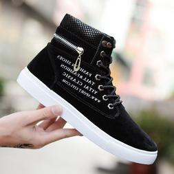 Men Oxfords Casual High Top Boots Leather Shoes Lace up Canv