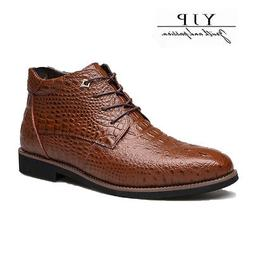 YJP Men's Ankle Boots Fur Lined Casual Leather Shoes Dress F