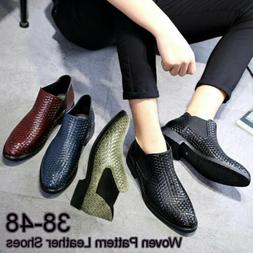 Men's Ankle Weave Knitted Leather Boots Oxford Dress Formal