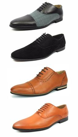 Mens Black Cognac Rust Dress Shoes Lace Up Oxfords Leather L