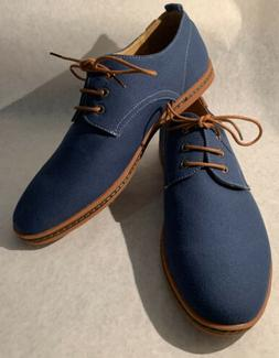 Kunsto Men's Blue Canvas Oxford Dress Shoes Blue Eur 46- US