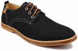 Kunsto Men's Canvas Oxford Shoes Lace up US Size 10 Black 10