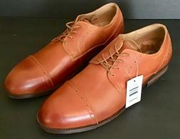 Kunsto Men's Cap Toe Oxford Shoes, Lace-Up Wood Stacked Heel