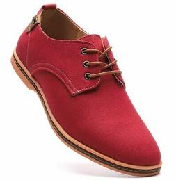 DADAWEN Men's Casual Canvas Lace Up Oxfords Shoes Red US Siz