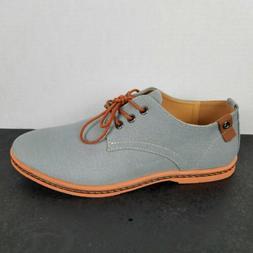 Dadawen Men's Casual Canvas Oxford Dress Shoe Gray Size 42-E