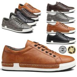 Men's Casual Genuine Leather Work Shoes Lace-up Sneakers Oxf