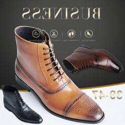 Men's Chelsea Ankle Boots Lace Up Side Zipper Flat Oxford Le