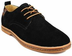 Kunsto Men's Classic Leather Oxford Flats Shoes Lace Up US S