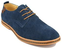 Kunsto Men's Classic Leather Oxford Flats Shoes Lace Up Navy