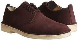 CLARKS Men's Desert London, Burgundy Suede Oxford