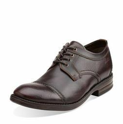 Clarks Men's Dress Delsin View Burgundy Leather Oxford  Shoe