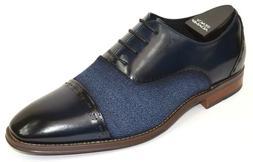 Men's Dress Shoes Cap Toe Oxford Navy Blue Leather STACY ADA