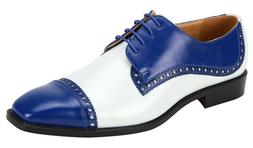 Men's Dress Shoes Cap Toe Oxford Royal Blue/White 2-Tone ANT