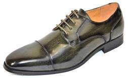 Men's Dress Shoes Cap Toe Oxford Burnished Olive Green ANTON