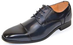 Men's Dress Shoes Cap Toe Oxford Burnished Navy Blue ANTONIO