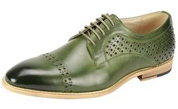 Men's Dress Shoes Cap Toe Perforated Oxford Olive Green ANTO