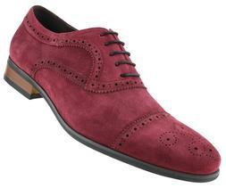 Men's Dress Shoes, Genuine Cow Suede Leather Cap Toe Oxfords