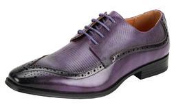 Men's Dress Shoes Moc Toe Oxford Purple Lizard Print ANTONIO