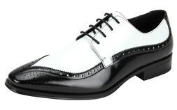 Men's Dress Shoes Moc Toe Oxford Black/White Lizard Print AN