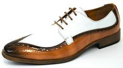 Men's Dress Shoes Moc Toe Oxford Tan/White Lizard Print ANTO