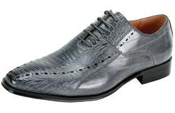 Men's Dress Shoes Plain Toe Oxford Gray Gator Print ANTONIO