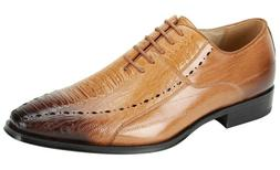 Men's Dress Shoes Plain Toe Oxford Scotch Gator Print ANTONI
