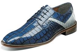 Men's Dress Shoes Plain Toe Oxford Blue Multi 2-Tone Leather