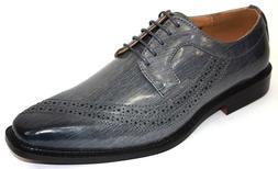 Men's Dress Shoes Plain Toe Oxford Gray Eelskin Print ANTONI
