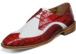 Men's Dress Shoes Wing Tip Oxford Red/White 2-Tone Leather S