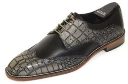 Men's Dress Shoes Wing Tip Oxford Gray/Black Leather STACY A