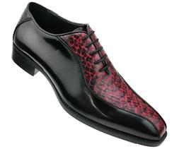Bolano Men's Exotic Smooth Faux Snake Print Lace Up Oxford D
